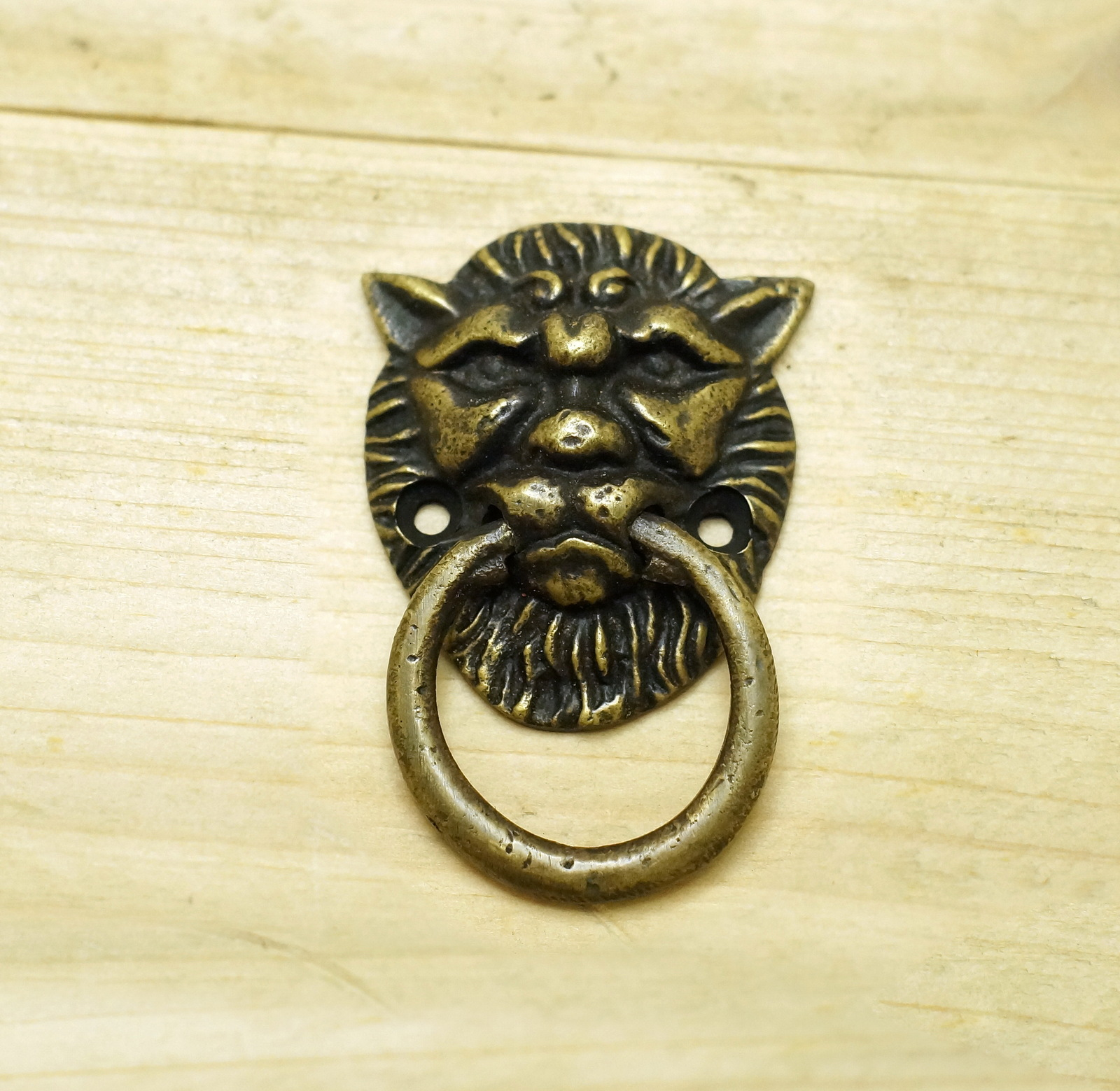 4 pcs vintage lion head small solid brass round cabinet for Small cabinet pulls
