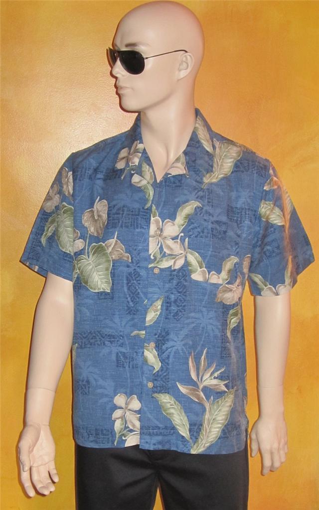 Batik bay tropical silk casual button front blue shirt for Men s batik bay silk blend button down shirt