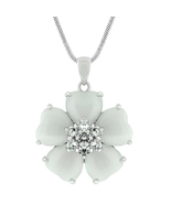 J Goodin White Cats Eye Cubic Zirconia Flower Pendant With 16 Inch Chain - $21.00