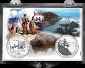 2005 jefferson reverse design nickel coin snap lock holder nb
