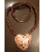 Heart Shaped Pink Abalone Shell Mosaic Wood Bead Necklace - $28.00