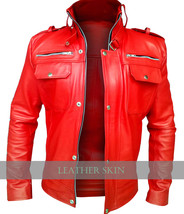 NWT Red Stylish Men Front Up Collar Premium Genuine Leather Jacket -S M L XL 2XL - $179.99