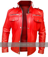 NWT Red Stylish Men Front Up Collar Premium Genuine Leather Jacket -S M ... - $179.99