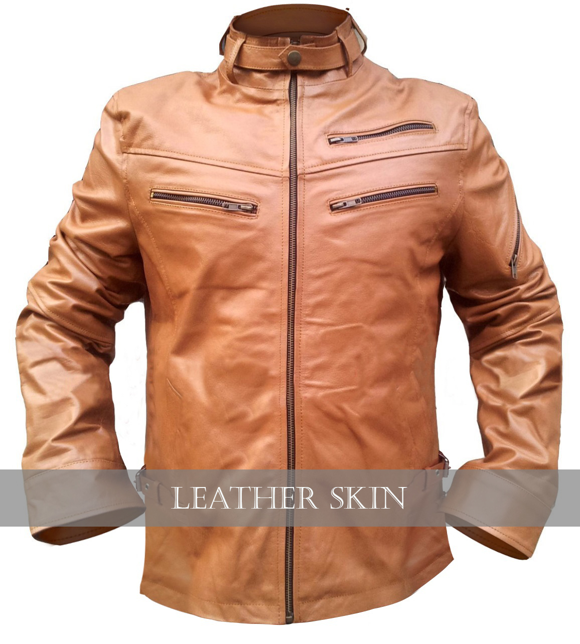 nwt light brown stylish men front up collar genuine leather jacket s m l xl 2xl outerwear. Black Bedroom Furniture Sets. Home Design Ideas