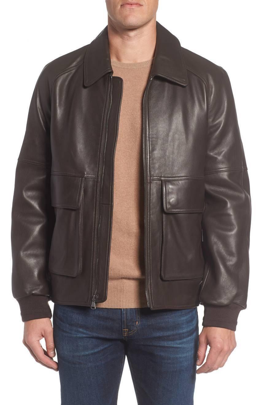 Two Big Pockets Classical Men Genuine Soft Lambskin Leather Jacket Biker jacket
