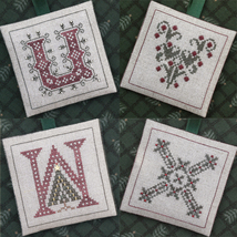 Alphabet Ornaments Four U-V-W-X cross stitch chart Drawn Thread - $9.00