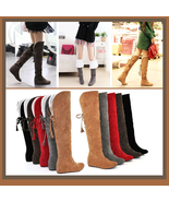 Suede Over the Knee Flat Sole Leather Boots w/ Lace up tassel and Fleece Lining - $59.95