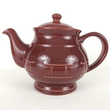 LONGABERGER Woven Traditions Teapot Paprika Pottery Red USA Tea Pot Ceramic - $47.45