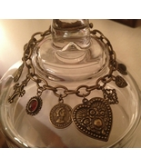 Lady Luck Cabochon Antiqued Brass Charm Toggle Bracelet - $24.00