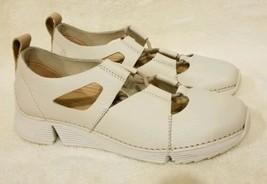NEW Clarks Tri Trigenic Sense Womens 7 M Cream Leather Comfort Sneakers ... - $48.99
