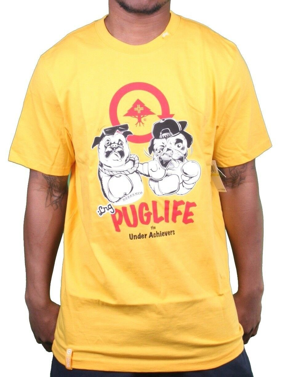 LRG Gold Yellow Puggin Pug Life Under Achiever T-Shirt Large NWT