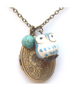 Antiqued Brass Turquoise Porcelain Owl Locket N... - $13.99