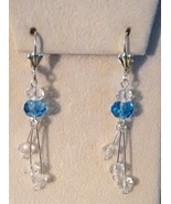 Beautiful Blue Swarovski Crystal Dangle  Earrings  - $18.99