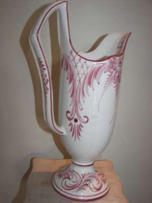 Fine Porcelain Pitcher Shape Vase With Rose Flowers