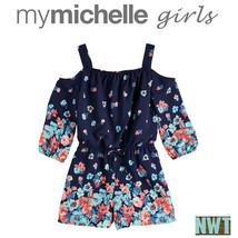 My Michelle Girls Blue Cold-Shoulder Floral Border Romper XL - $27.11