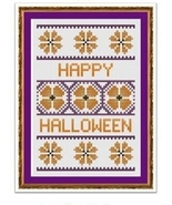 Floral Halloween Card cross stitch chart Cross Stitch Cards - $9.00