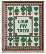 Topiaries trees cross stitch chart Cross Stitch Cards - $9.00