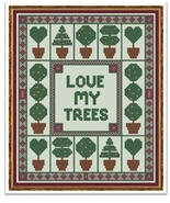 Topiaries trees cross stitch chart Cross Stitch Cards - $9.00