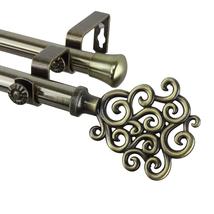 Rod Desyne Tidal Double Curtain Rod 28-48 inch - Antique Brass-1315-4771... - $58.93