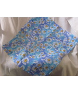 Handmade Blue with Daisies Cotton Pillow Cover for 14 inch Pillow - $7.99