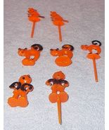 Vintage Hard Plastic Halloween Party Cake Decorations Witch Cat Scarecrow - $14.95