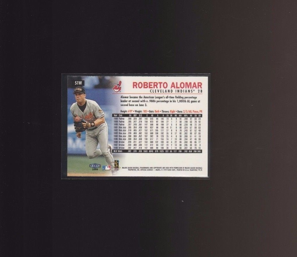 1999 Fleer Tradition Warning Track #51W Roberto Alomar Baltimore Orioles image 2
