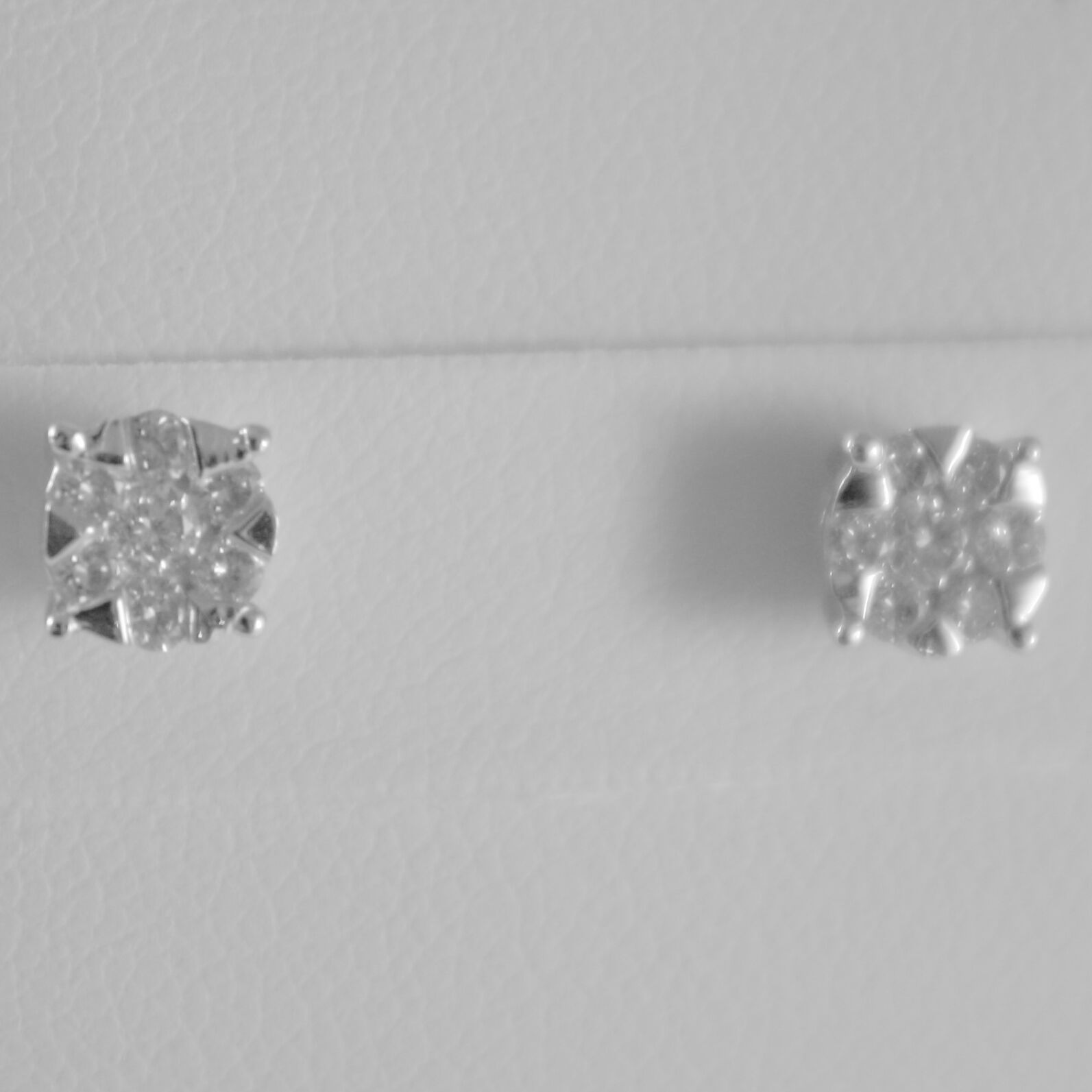 18K WHITE GOLD ROUND EARRINGS WITH DIAMOND DIAMONDS 0.33 CARATS, MADE IN ITALY