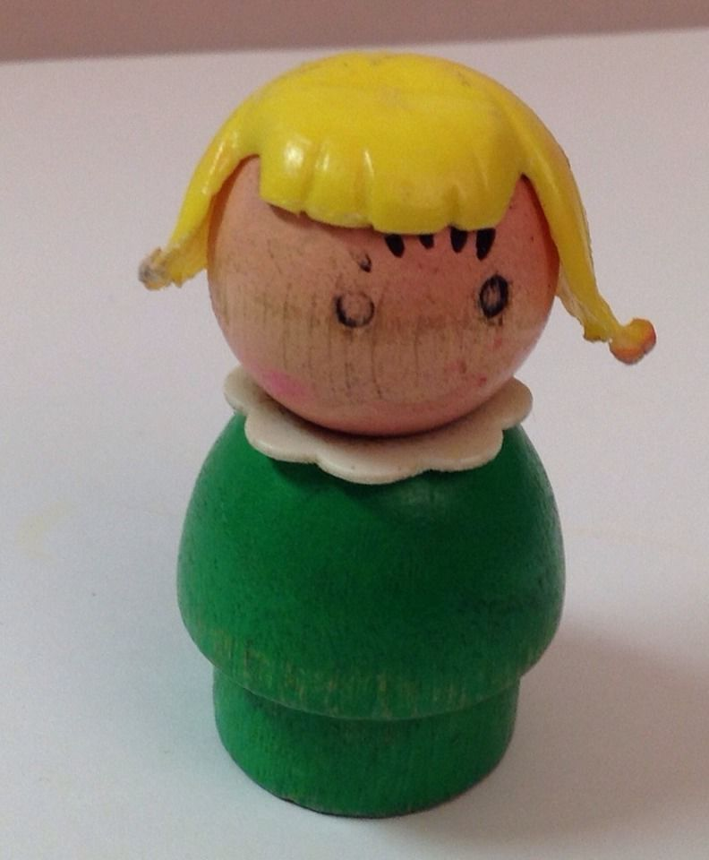 Vintage Fisher-Price Little People Original Wood Farm / School Girl - Wood B & H