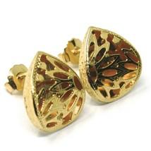 Gelbgold Ohrringe 750 18K, Tropfen Doppelt Layer, Blumen Mattiert image 1
