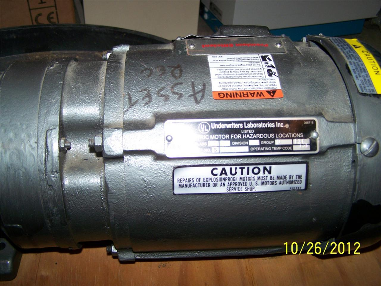 Us Motors Electric 1 Hp 6 3 Ratio Gear Motor Hazardous