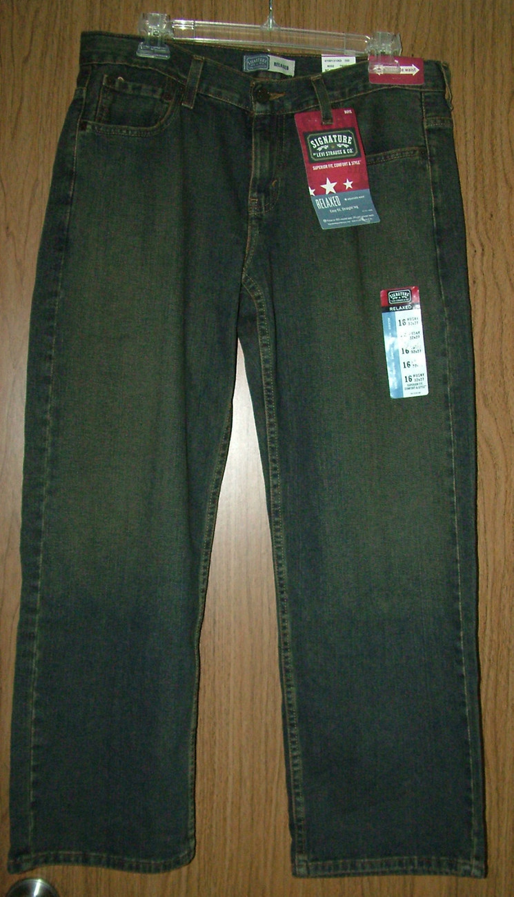 Primary image for Levi Strauss&Co Husky Boy's Relaxed, Straight Leg Jeans.Dark Wash,Sz.16(W32x27)