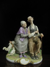 """Vintage Italy Capodimonte  Giuseppe Cappe Figurine Darby and Joan  Mint 7"""" - $455.40"""