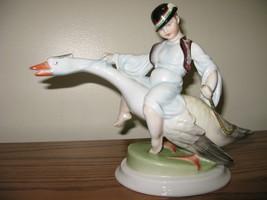 "Vintage Herend Figurine MATTI THE GOOSE BOY  Boy Riding Goose 10"" W Mint - $396.00"