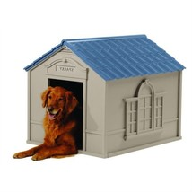 Outdoor Dog House in Taupe and Blue Roof Durable Resin - For Dogs up to ... - $152.90