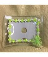 Green Ribbon & Flower Embellished Arched Clear Glass Frame. - $14.75