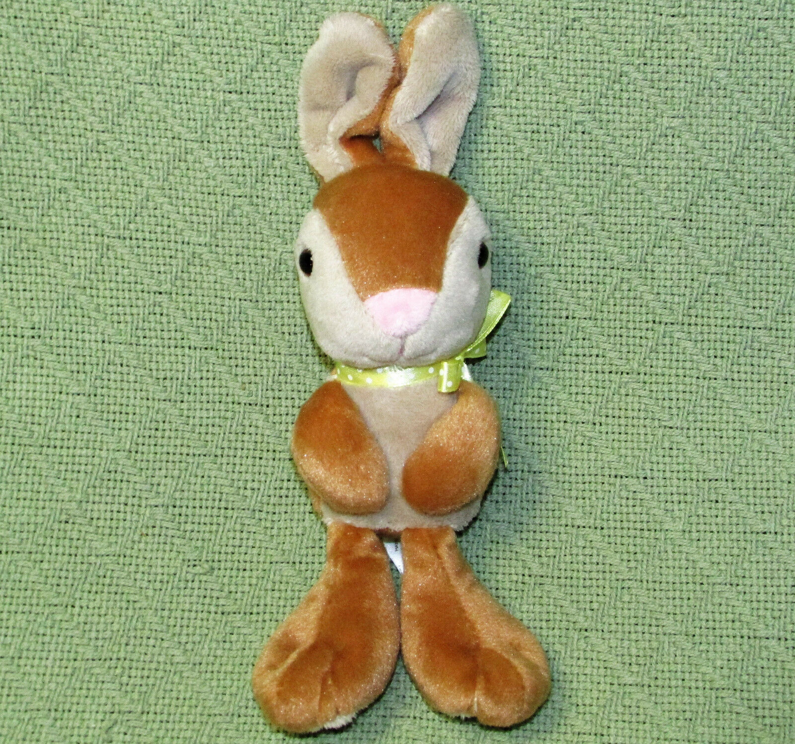"Primary image for SWEET SPROUTS 2016 BIG FEET BUNNY TAN Rabbit Plush Stuffed 10"" Easter Green Bow"