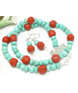 Turquoise Magnesite Red Faux Cinnabar Beaded Necklace Earring Set - $29.00