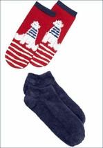 Nwt HUE 2-pack Natale Vacanza Orso Polare Footsie No Show Calzini IN Regalo Box
