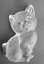 Glass Cat Figurine Vintage Viking Hand Made in USA Frosted Bookend w/ Go... - $20.58