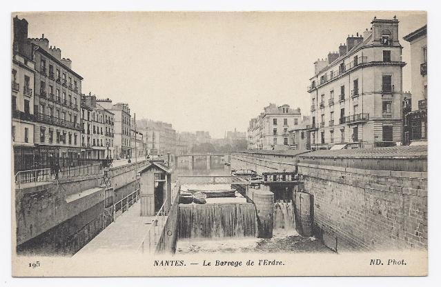c1910 - Dam in the City of Nantes, France - Unused