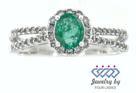 Emerald Birthstone 14K White Gold 0.52CT Natural Split Shank Halo Diamon... - $566.14