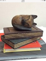 Sleeping Cat Over Books Decorative Paper Weight or Book End Solid Wood C... - $14.99