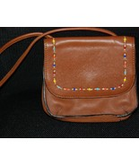 Fossil Tan Leather Beaded Mini Shoulder Bag - $20.00