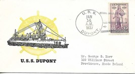 DU PONT (DD-152) 14 January 1937 Locy Type 3s postmark Last Day in Commi... - $3.47