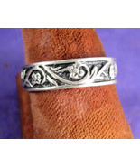 Sterling Silver Wedding Band Art Nouveau Vines and Flowers Promise Ring ... - $70.00