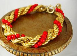 Italian Bijoux Cascio Coral Braid Bracelet Vintage Heavy Approx 9inches ... - $75.00