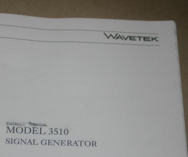 WAVETEK 2002A Sweep /& Signal Generator Instruction Manual Operating /& Service