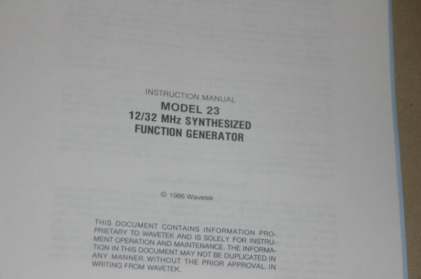 Wavetek 23 12/32MHZ Synthesized Fuction Generator Operating Instruction Manual - $25.43