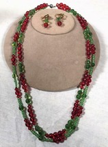 "VINTAGE RED & GREEN 23"" GLASS BEAD NECKLACE WITH MATCHING CLIP ON EARRINGS - $25.73"