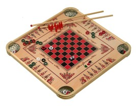 Vintage Carrom Game Board Checkers Billiards Crokinole Parcheesi Wooden ... - $59.95